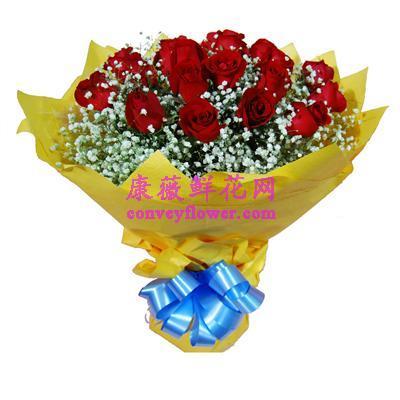 永久 19枝红玫瑰,满天星点缀 或绿叶搭配 ,图片